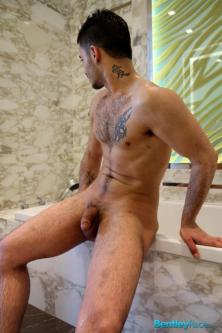 Gay is admiring his well hung buddys big cock
